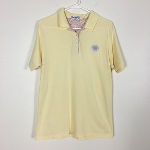 Burberry Vintage Yellow Collared Short Sleeve Top